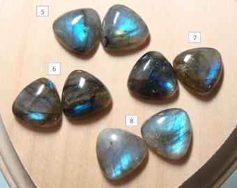 Labradorite Smooth Trillion Cabochon, One Pair, 15x15mm, AAA, Amazing Fiery Blue Flash- Blue Flash