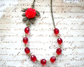 Red Jewelry Romantic Necklace Flower Necklace Leaf Necklace Red Necklace Red Rose Necklace Romantic Jewelry Red Bridesmaid Necklace