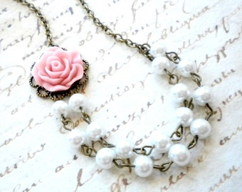 Flower Girl Necklace Baby Girl Gift Pink Necklace Little Girl Wedding Jewelry Flower Girl Pearl Necklace Junior Bridesmaid Gift