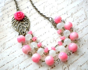 Coral Necklace Flower Necklace Flower Statement Necklace Pink Coral Wedding Jewelry Coral Bridesmaid Necklace Summer Wedding Bridesmaid Gift