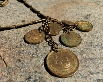 1960s Coin Pendant - coins from Finland, Canada, Mexico & Argentina