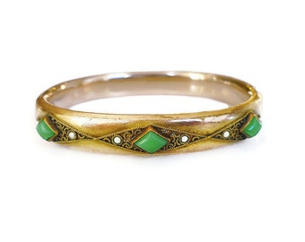 Victorian Bracelet, HHC Co, Gold Filled, Seed Pearl, Faux Jade Glass, Hinged Bangle, Antique Jewelry
