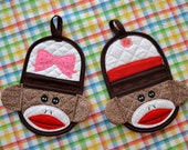 Set Boy and Girl Sock Monkey Doll Finger Tip Oven Mitt, Oven Mitt, Pot Holders, Hot Pads