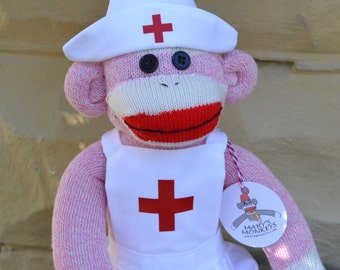 Pink Sock Monkey Nurse Doll, Dressed in Nurse Uniform, Personalization Option, Nurse, Nurse's Appreciation Day, Nurse Graduation