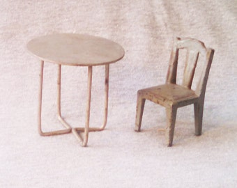 Dollhouse Chair and Table, Kilgore, Metal
