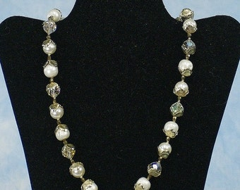 SALE Vintage 50s 60s VENDOME Faux Pearl & Faceted Crystal Bead Necklace, Married Earrings, Bridal Wedding Jewelry