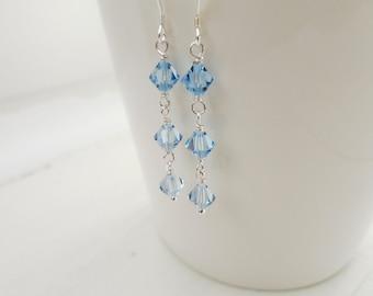 Silver earrings blue crystals earrings dangle earrings minimalist