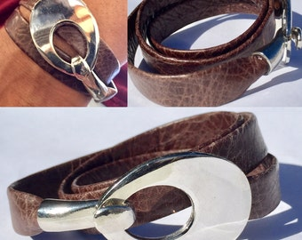 Wrap Bracelet, Leather Jewelry, Triple Wrap Leather Bracelet, Gift for Her, Bridesmaid, Brown  Leather, Flat Folded Leather, Magnetic Clasp