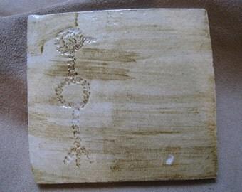 Petroglyph Ceramic Art Tile or Art Coaster - Crow - Ceramic Tile - Bird Tile
