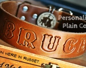"""SALE 1.5"""" Custom Leather Dog Collar - ALPHA DOG Personalized Stamped Text"""