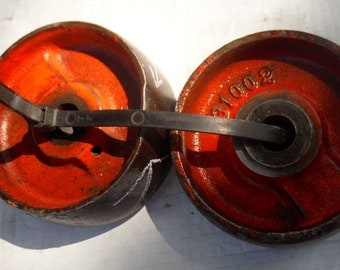 Set of 2 Antique Vintage Cast Iron Wheels for Repurpose Furniture or Steam Punk Projects