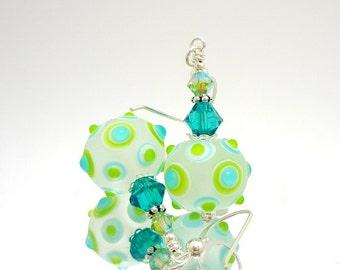 Teal and Lime Earrings, Lampwork Earrings, Glass Earrings, Glass Bead Earrings, Beadwork Earrings, Unique Earrings, Geometric Earrings