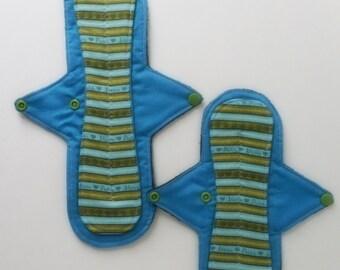 Reusable Cloth Pad Set (2) Cloth Pad Starter Set,Sustainable,Mama Pad Set, Incontinence Pad,Sanitary Pad,Cotton Topped W/Fleece Backing