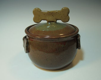 Large Brown Treat Jar with Dog Biscuit Bone Knob and Handles
