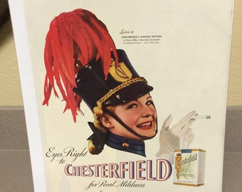 1940 Chesterfield cigarette ad large 11x15 approx. great graphics.