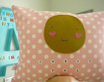 Sweet Pea Pillow - Pillow Cover  - Decorative Pillow - Nursery Decor - Baby Shower Gift - Girl - Pink