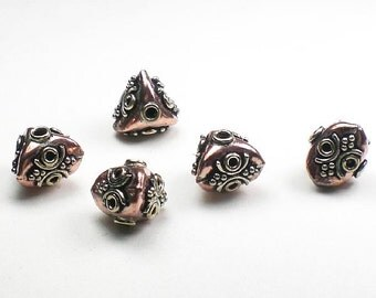 Gorgeous Triangular Genuine Copper Beads with Silver Designs 5 pcs. GC-338