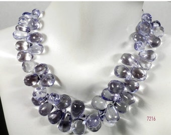 ON SALE Mystic Blue Quartz Teardrops Beads Smooth Shiny Teardrop Briolettes Earth Mined Gemstone - 10 Beads - 8x6 to 14x8mm