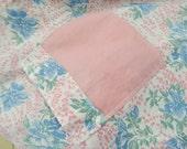 Vintage Feedsack Fabric Material Bib Pocket Kitchen Apron Pink Blue Floral Print Nice Pastel Farmhouse Country