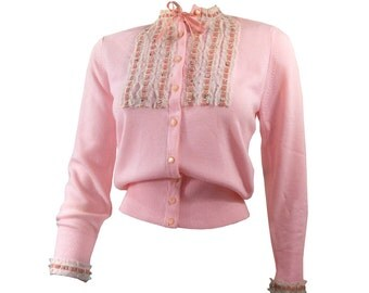 Gorgeous Vintage Pink Cardigan Sweater with Pearls, Rhinestones, Lace and Velvet Trim Small