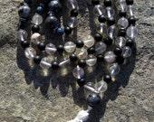 Yin Yang/ Quartz, Rutilated Quartz, Shungite, Larvikite, Lapis, Silver Prayer Beads, 108 Japa Mala,  One of a Kind, Handmade