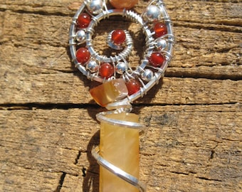 Sacred Spiral///Rooted///Carnelian, and Sterling Silver Wire Wrap Pendant, One of a Kind, Handmade, Art