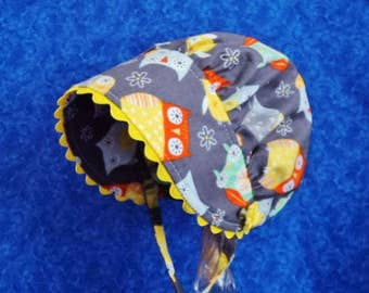 Infant Baby Bonnet Grey with Colorful Owls