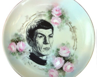 Spock Portrait Plate -  Altered Antique Plate 7.9""