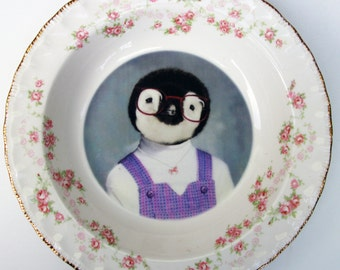 Portrait Bowl.   Penelope the Penquin, School Portrait  8""