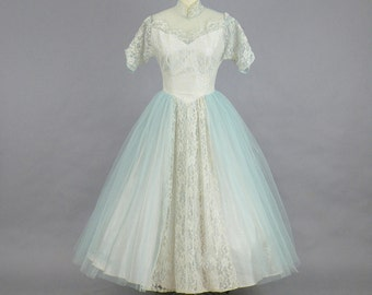 Vintage 1950s Prom Dress, 50s Dress, Powder Blue Tulle and Lace Formal Cinderella Party Dress, XS