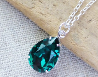 Emerald Swarovski Crystal Necklace, Dark Green Teardrop Sterling Silver Necklace, Bridesmaid Jewelry, Crystal Pear Drop, Gifts, Rhinestone