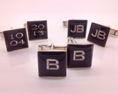 Cufflinks, Colored Resin Initial  are Custom Personalized and Engraved