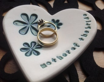 Peacock green Mother of the bride ring plate keeper thank you ceramic heart gift