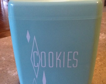 Mid Century Vintage Turquoise Blue and White Flower Hard Plastic Cookie Canister Set with Lid