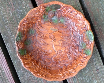 WYOMING Faux Wood Relief Vintage Souvenir Plate, Bowl featuring Deer, Pinecones