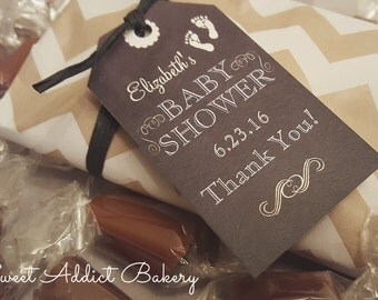 Chalkboard BABY SHOWER FAVORS - 2 Caramels each - Pink or blue - Chevron - Personalized and custom made for you and your guests to enjoy