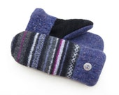 Felted Wool Sweater Mittens Fleece Lined Purple Black and Charcoal Stripes