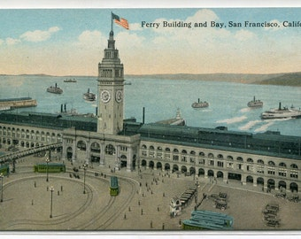San Francisco California Ferry Building Bay 1910c postcard