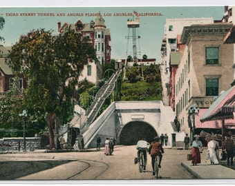 Angels Flight Incline Third Street Tunnel Los Angeles California 1910c postcard