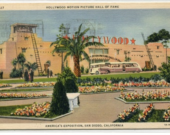 Hollywood Motion Picture Hall of Fame Exposition San Diego California 1935 postcard