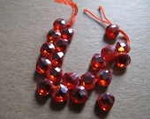 20 faceted Red, flat teardrop shaped, 6mm transparent Cubic Zirconia gemstone beads