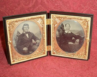 Gutta Percha Case w/ Double Tintypes of Civil War Couple