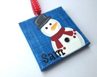 Handpainted and Personalized Snowman Ornament