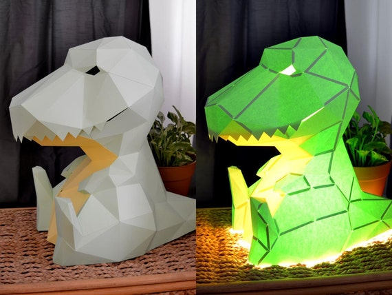 Build An Adorable T-Rex Lamp from just Paper and Glue DIY