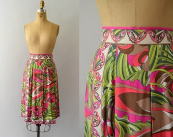 1960s Vintage Skirt - 60s  Emilio Pucci Pink and Green Floral Skirt