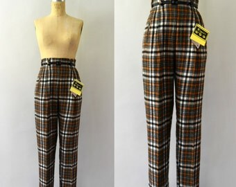 1950s Vintage Trousers - 50s Hollywood Waist Plaid Wool Pants NOS