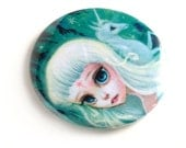 Pretty Pocket Mirror - The Last Unicorn - pocket mirror by Mab Graves