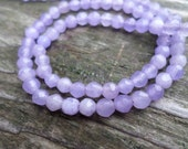 Faceted Light Purple Jade 4mm Round Beads Full Strand