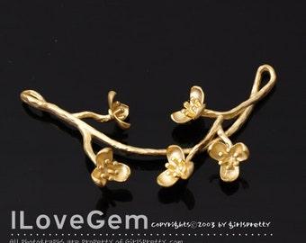 NP-1841 Matt Gold Plated, Flower Branch, Pendant, 1pc