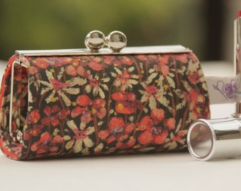 Lipstick Case/ Lipbalm case/ silver metal frame/ Liberty cotton/ pink red on black/small flowers